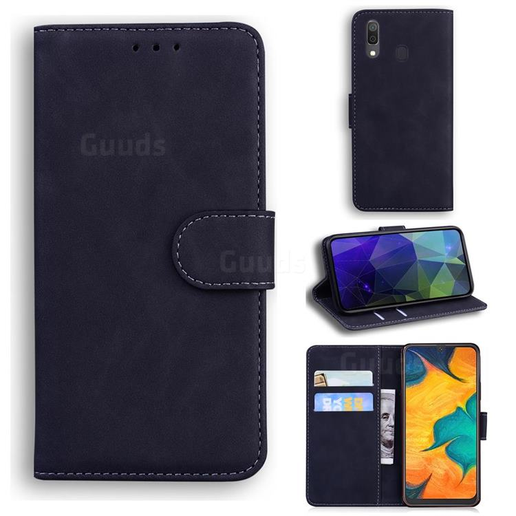 Retro Classic Skin Feel Leather Wallet Phone Case for Samsung Galaxy A20 - Black