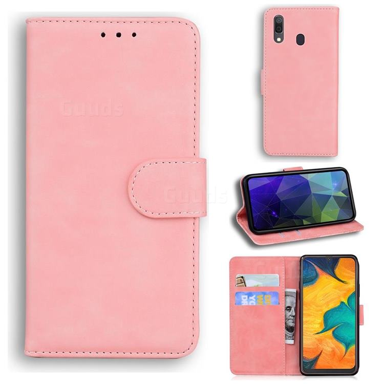 Retro Classic Skin Feel Leather Wallet Phone Case for Samsung Galaxy A20 - Pink