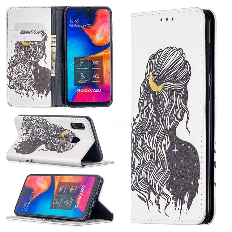 Girl with Long Hair Slim Magnetic Attraction Wallet Flip Cover for Samsung Galaxy A20