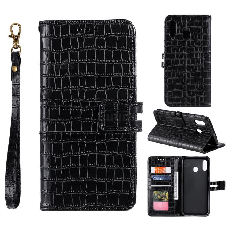 Luxury Crocodile Magnetic Leather Wallet Phone Case for Samsung Galaxy A20 - Black