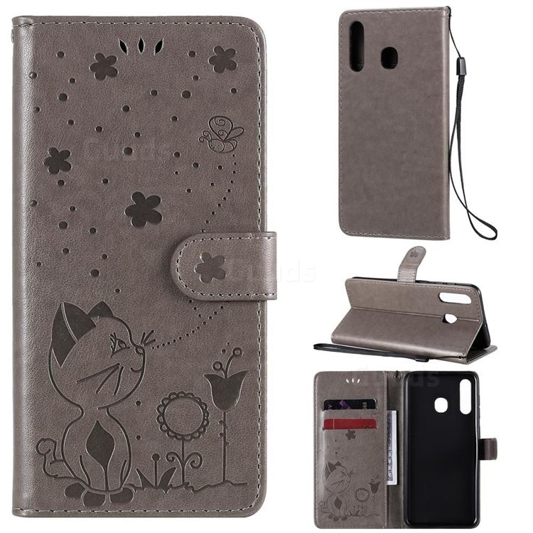 Embossing Bee and Cat Leather Wallet Case for Samsung Galaxy A20 - Gray