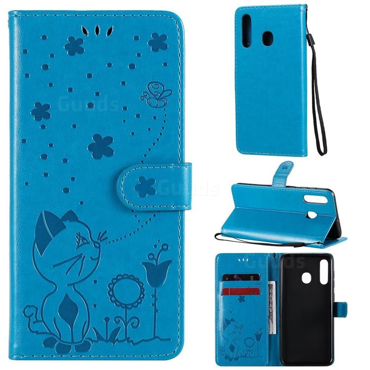 Embossing Bee and Cat Leather Wallet Case for Samsung Galaxy A20 - Blue