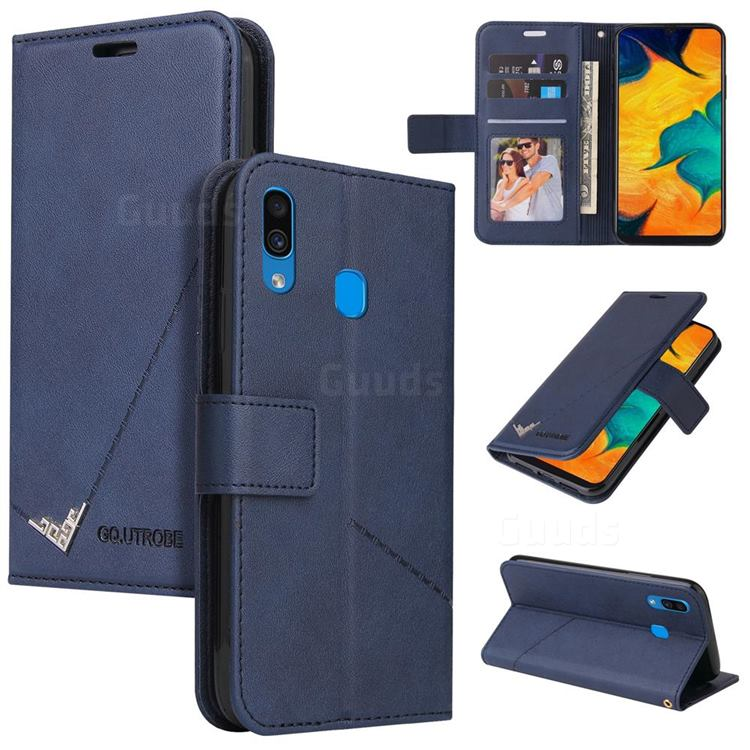 GQ.UTROBE Right Angle Silver Pendant Leather Wallet Phone Case for Samsung Galaxy A20 - Blue