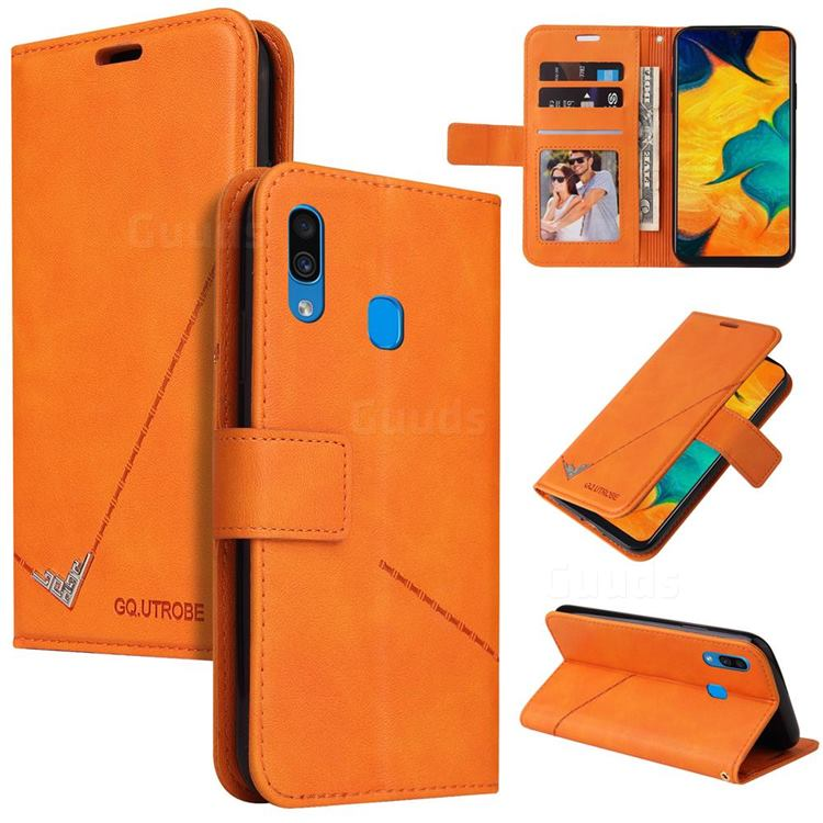 GQ.UTROBE Right Angle Silver Pendant Leather Wallet Phone Case for Samsung Galaxy A20 - Orange