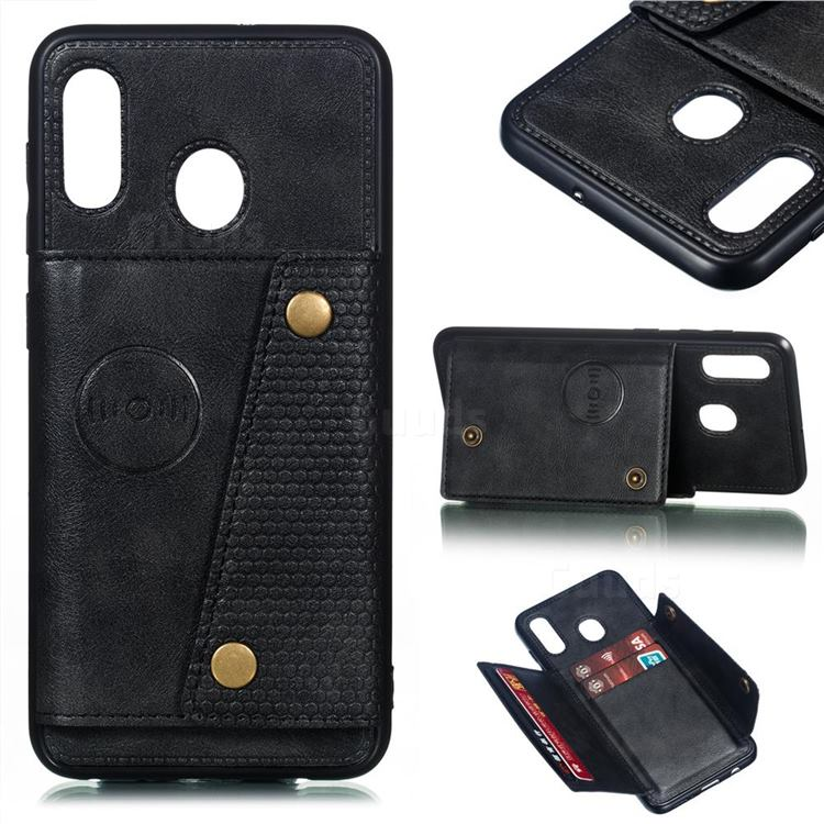 Retro Multifunction Card Slots Stand Leather Coated Phone Back Cover for Samsung Galaxy A20 - Black