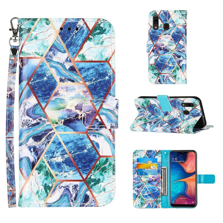 Green and Blue Stitching Color Marble Leather Wallet Case for Samsung Galaxy A20