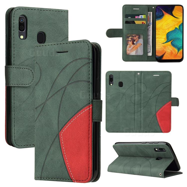 Luxury Two-color Stitching Leather Wallet Case Cover for Samsung Galaxy A20 - Green