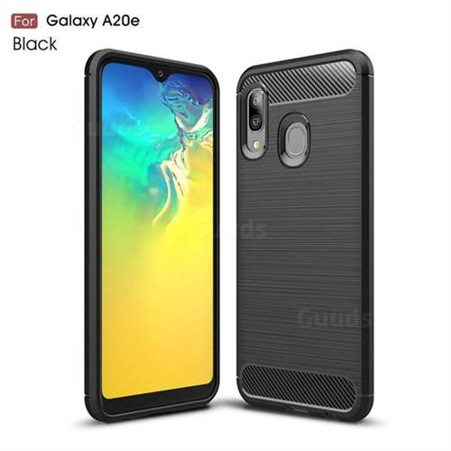 Luxury Carbon Fiber Brushed Wire Drawing Silicone TPU Back Cover for Samsung Galaxy A20e - Black