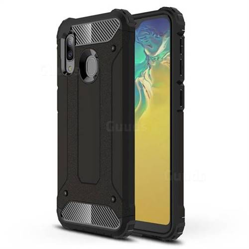 King Kong Armor Premium Shockproof Dual Layer Rugged Hard Cover for Samsung Galaxy A20e - Black Gold