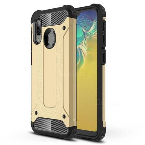 King Kong Armor Premium Shockproof Dual Layer Rugged Hard Cover for Samsung Galaxy A20e - Champagne Gold