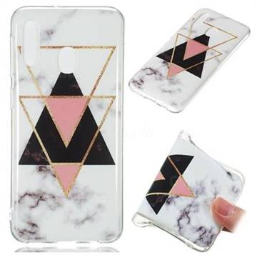 Inverted Triangle Black Soft TPU Marble Pattern Phone Case for Samsung Galaxy A20e