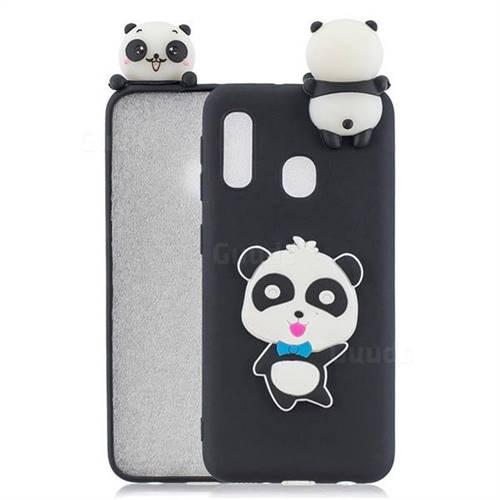 Blue Bow Panda Soft 3D Climbing Doll Soft Case for Samsung Galaxy A20e