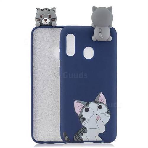 Big Face Cat Soft 3D Climbing Doll Soft Case for Samsung Galaxy A20e