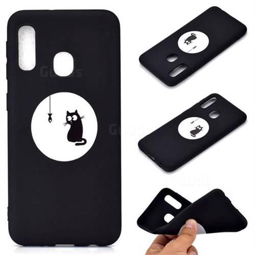 Fish Fishing Cat Chalk Drawing Matte Black TPU Phone Cover for Samsung Galaxy A20e