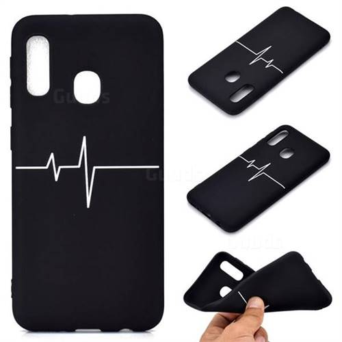 Electrocardiogram Chalk Drawing Matte Black TPU Phone Cover for Samsung Galaxy A20e