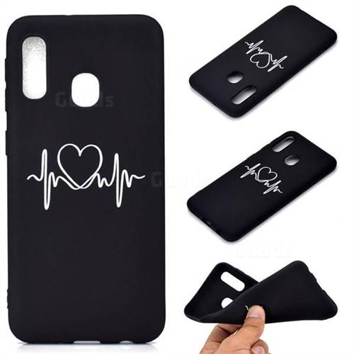 Heart Radio Wave Chalk Drawing Matte Black TPU Phone Cover for Samsung Galaxy A20e