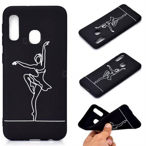 Dancer Chalk Drawing Matte Black TPU Phone Cover for Samsung Galaxy A20e