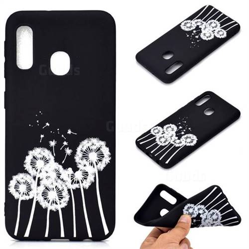 Dandelion Chalk Drawing Matte Black TPU Phone Cover for Samsung Galaxy A20e