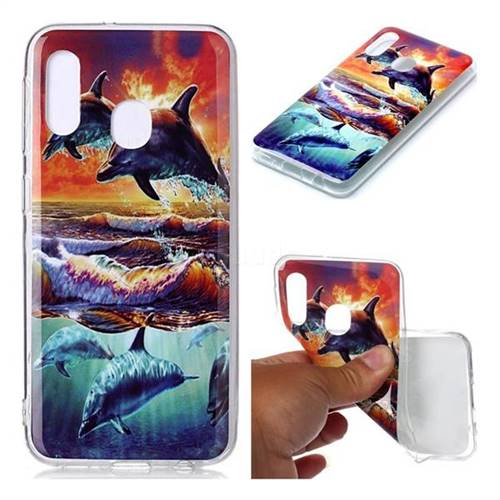Flying Dolphin Soft TPU Cell Phone Back Cover for Samsung Galaxy A20e