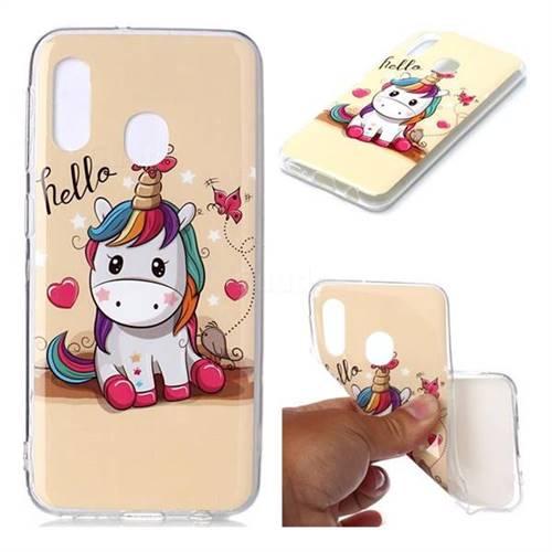 Hello Unicorn Soft TPU Cell Phone Back Cover for Samsung Galaxy A20e