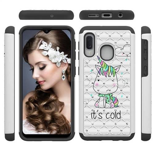 Tiny Unicorn Studded Rhinestone Bling Diamond Shock Absorbing Hybrid Defender Rugged Phone Case Cover for Samsung Galaxy A20e