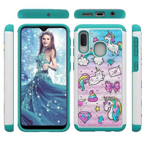 Fashion Unicorn Studded Rhinestone Bling Diamond Shock Absorbing Hybrid Defender Rugged Phone Case Cover for Samsung Galaxy A20e