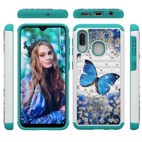 Flower Butterfly Studded Rhinestone Bling Diamond Shock Absorbing Hybrid Defender Rugged Phone Case Cover for Samsung Galaxy A20e