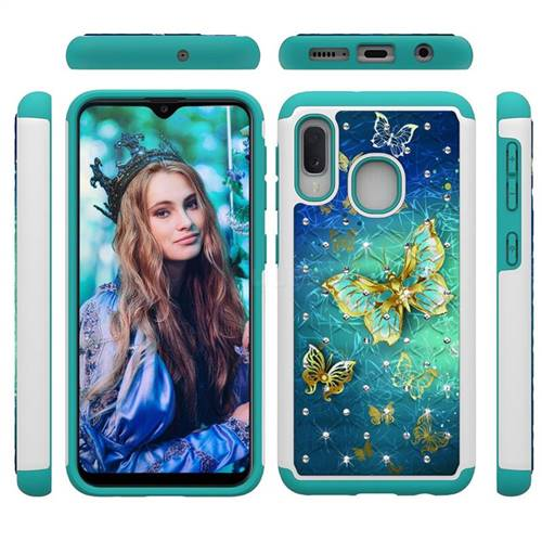 Gold Butterfly Studded Rhinestone Bling Diamond Shock Absorbing Hybrid Defender Rugged Phone Case Cover for Samsung Galaxy A20e