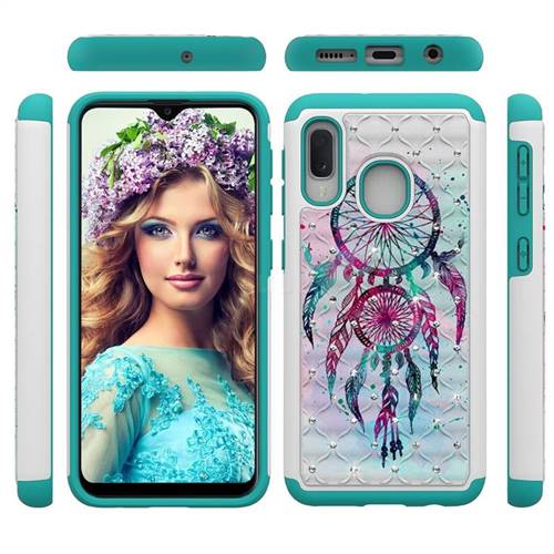Color Drops Wind Chimes Studded Rhinestone Bling Diamond Shock Absorbing Hybrid Defender Rugged Phone Case Cover for Samsung Galaxy A20e