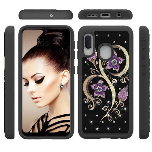 Peacock Flower Studded Rhinestone Bling Diamond Shock Absorbing Hybrid Defender Rugged Phone Case Cover for Samsung Galaxy A20e
