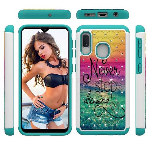 Colorful Dream Catcher Studded Rhinestone Bling Diamond Shock Absorbing Hybrid Defender Rugged Phone Case Cover for Samsung Galaxy A20e