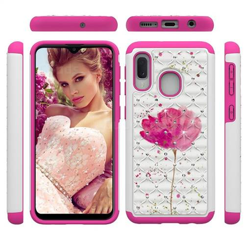 Watercolor Studded Rhinestone Bling Diamond Shock Absorbing Hybrid Defender Rugged Phone Case Cover for Samsung Galaxy A20e
