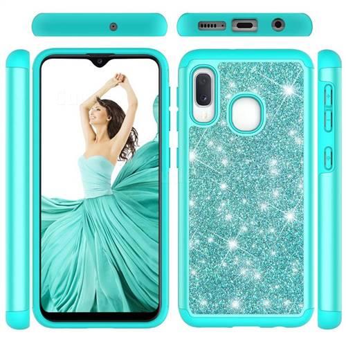 Glitter Rhinestone Bling Shock Absorbing Hybrid Defender Rugged Phone Case Cover for Samsung Galaxy A20e - Green