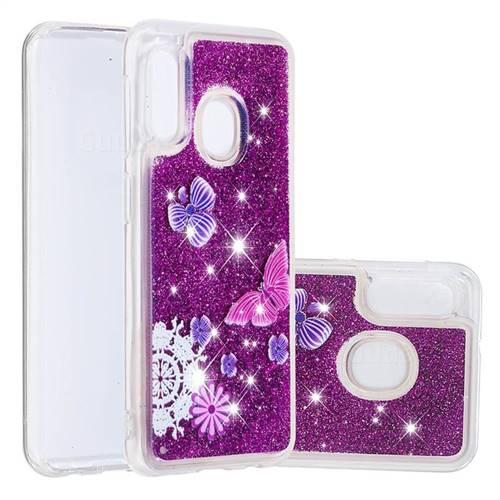 Purple Flower Butterfly Dynamic Liquid Glitter Quicksand Soft TPU Case for Samsung Galaxy A20e