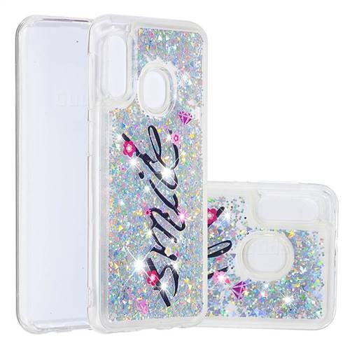 Smile Flower Dynamic Liquid Glitter Quicksand Soft TPU Case for Samsung Galaxy A20e