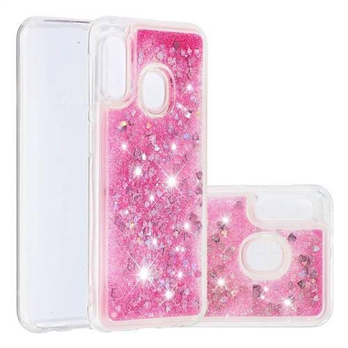Dynamic Liquid Glitter Quicksand Sequins TPU Phone Case for Samsung Galaxy A20e - Rose