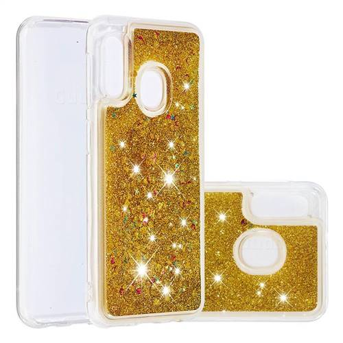 Dynamic Liquid Glitter Quicksand Sequins TPU Phone Case for Samsung Galaxy A20e - Golden