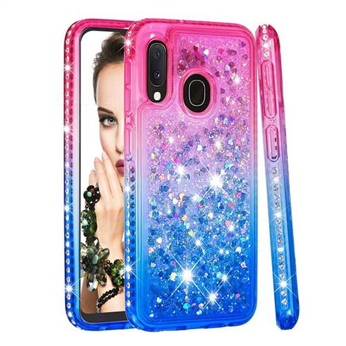 Diamond Frame Liquid Glitter Quicksand Sequins Phone Case for Samsung Galaxy A20e - Pink Blue