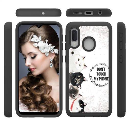 Cute Kittens Shock Absorbing Hybrid Defender Rugged Phone Case Cover for Samsung Galaxy A20e