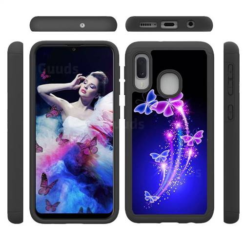 Dancing Butterflies Shock Absorbing Hybrid Defender Rugged Phone Case Cover for Samsung Galaxy A20e