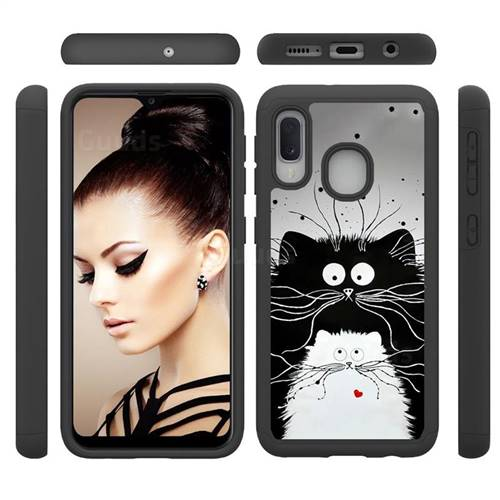 Black and White Cat Shock Absorbing Hybrid Defender Rugged Phone Case Cover for Samsung Galaxy A20e