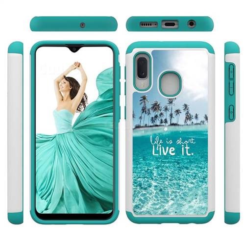 Sea and Tree Shock Absorbing Hybrid Defender Rugged Phone Case Cover for Samsung Galaxy A20e