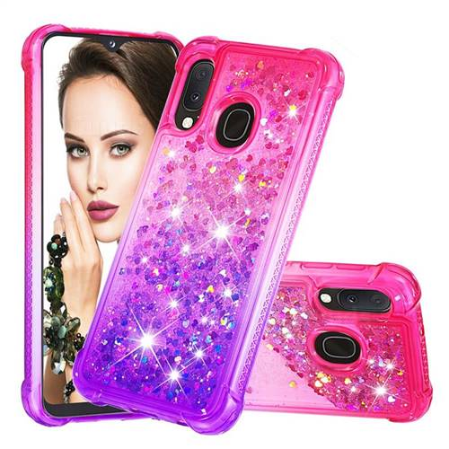 Rainbow Gradient Liquid Glitter Quicksand Sequins Phone Case for Samsung Galaxy A20e - Pink Purple