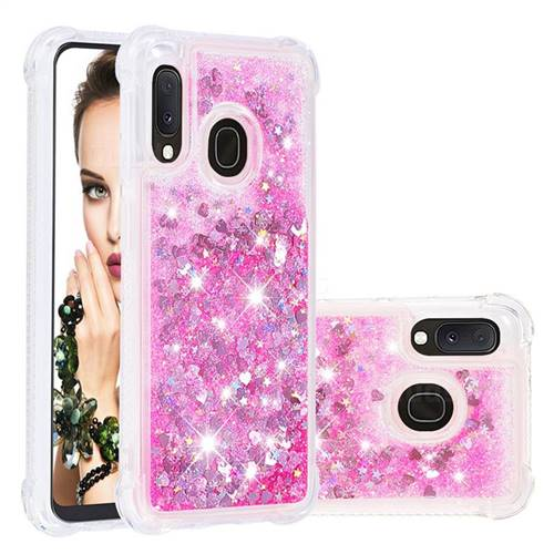 Dynamic Liquid Glitter Sand Quicksand TPU Case for Samsung Galaxy A20e - Pink Love Heart