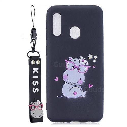Black Flower Hippo Soft Kiss Candy Hand Strap Silicone Case for Samsung Galaxy A20e