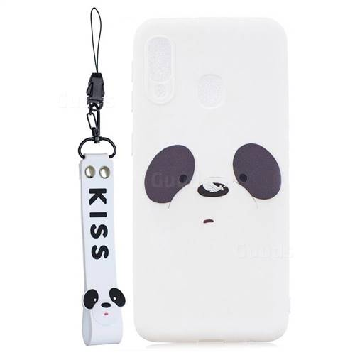 White Feather Panda Soft Kiss Candy Hand Strap Silicone Case for Samsung Galaxy A20e