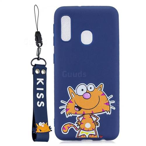 Blue Cute Cat Soft Kiss Candy Hand Strap Silicone Case for Samsung Galaxy A20e