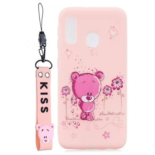 Pink Flower Bear Soft Kiss Candy Hand Strap Silicone Case for Samsung Galaxy A20e