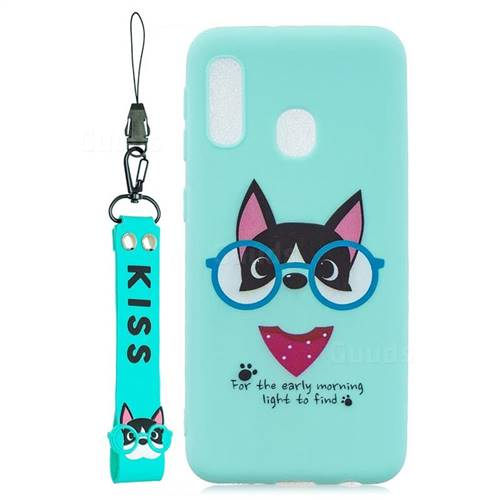 Green Glasses Dog Soft Kiss Candy Hand Strap Silicone Case for Samsung Galaxy A20e