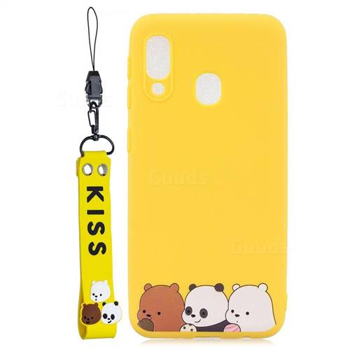 Yellow Bear Family Soft Kiss Candy Hand Strap Silicone Case for Samsung Galaxy A20e